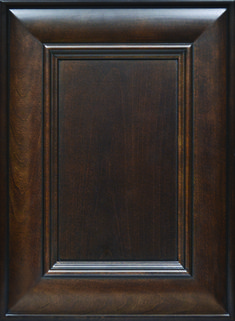Provence Flat Panel Mitered Door   Available Material: Select Wood Species  Color Shown: Chestnut Stain and Black Glaze on Cherry Material Outside Profile: Predetermined Cherry Cabinets, Kitchen Cabinet Doors, Face Framing, Custom Cabinetry, Black Wood, Wood Species, Color Show, Provence, Glaze