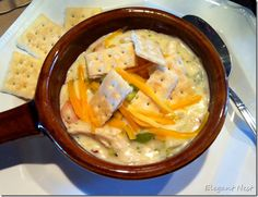 chicken pot pie soup....or use turkey and vegs after Thanksgiving!!