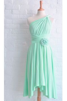 Mint Green High Low Hemline One Shoulder Bridesmaid Dress