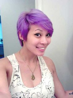 Someday when my hair turns all white--Lilac-Pastel-Highlighted-Pixie-Hair