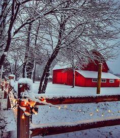 Red barns and Christmas snow go together like chocolate and peanut butter Christmas Scenery, Winter Scenery, Noel Christmas, Country Christmas, Winter Christmas, Christmas Pictures, Winter Snow, Christmas Lights, Xmas