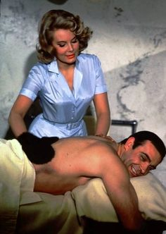 007 - mixing business with pleasure.. Molly Peters and Sean Connery in Thunderball, 1965.