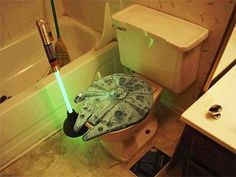 Star Wars Bathroom Toilet Plunger & Millennium Falcon Toilet Seat...for the hub's man cave bathroom.