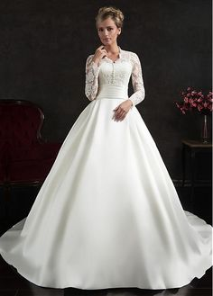 Marvelous Satin & Tulle Queen Anne Neckline Ball Gown Wedding Dress with Lace Appliques