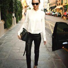 White button-down blouse