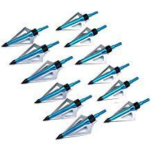 12x Broadhead 100Grain Arrow Heads Fixed 3 Blade For Hunting Arrows Archery