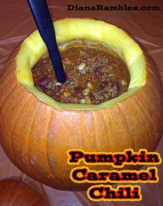 Pumpkin Caramel Chili from DianaRambles.com #recipe
