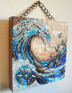 SunSwept beaded mosaic wall hanging by MyMosaicMoods on Etsy. This is a cute mosaic idea Mosaic Wall, Mosaic Glass, Mosaic Tiles, Glass Art, Stained Glass, Mosaic Mirrors, Fused Glass, Mosaic Crafts, Mosaic Projects