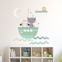 Owl And Pussycat Fabric Wall Stickers