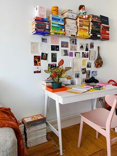 How a Blogger Perfected Her Color-Coded Floating Library Office Desk, Home Office Space, Book Collection, Window Mirror Decor, Floating Bookshelves, Coding, Rustic Room, Natural Home Decor, Sewing Studio