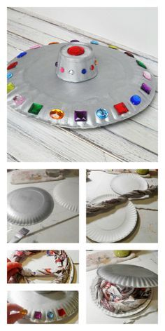 Crafts for children: flying saucer- Manualidades para niños: platillo volante Crafts for children: flying saucer - Space Crafts For Kids, Space Preschool, Space Activities, Preschool Crafts, Kids Crafts, Activities For Kids, Art For Kids, Space Party, Space Theme