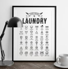 Sarcastic Guide to Laundry Symbols Print | Funny Wall Art | Art Print | Home Decor | Laundry Room Art | Kitchen Art | Fuzzy and Birch