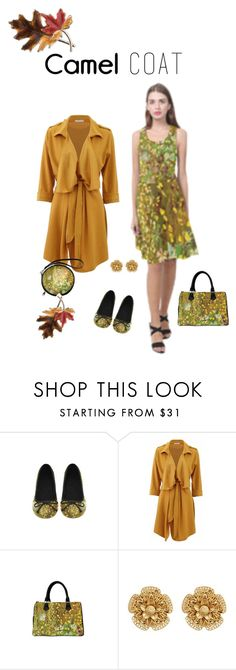 """Camel Coat"" by artist-rhonda ❤ liked on Polyvore featuring Miriam Haskell and Anne Klein"