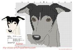 Greyhound dog free cross stitch pattern 87 x 72 stitches 4 DMC threads colors - free cross stitch patterns simple unique alphabets baby Cross Stitch Designs, Cross Stitch Patterns, Minnie Baby, Grey Hound Dog, Dog Crafts, Dmc, Dog Pattern, Dog Signs, Cross Stitch Animals