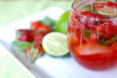 Strawberry Ginger Mojito    1.5 oz agave nectar  3 fresh strawberries, diced  4 mint sprigs  1 lime, juiced  2 oz light rum  ginger ale    In a cocktail shaker, muddle the nectar, strawberries and mint leaves with a spoon or muddler.  Crush the berries and mint well.    Add the lime juice and rum.  Put the top on the shaker and shake well.   Pour into a glass filled with ice cubes and top off with ginger ale.