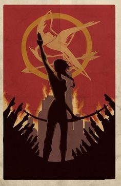 The Hunger Games: in the image you can see Katniss the protagonist of the Trilogy. You can see Katniss with her arch and her symbolist movement. In the background of the image you can see Mockingjay the bird who represents the revolution in Panem.