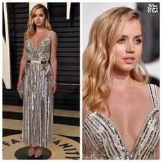 """258 Likes, 4 Comments - Who Wore What (@whoworewhat) on Instagram: """"Ana de Armas in Elie Saab at the 2017 Vanity Fair Oscar Party in Los Angeles. #whoworewhat 📷:…"""""""