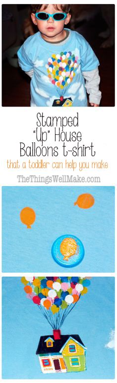This fun Up movie inspired Up house balloons shirt is made with homemade craft foam stamps, and is so easy even a toddler can help you make it.