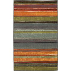 This gorgeous mix of oranges, yellows and blues in varied widths is the finishing touch for an updated room. Non-allergenic, stain- and fade-resistant nylon is soft underfoot and hassle free.