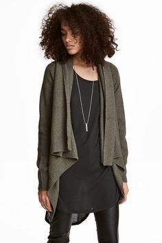 Shawl-collar Cardigan | Khaki green | WOMEN | H&M US