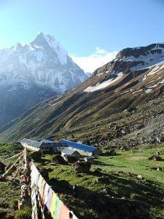 The rocky, green terrain at Annapurna's base camp