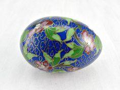 Vintage Chinese Cloisonne Enamel Egg, Brass Enamel Egg Decoration, Cobalt Blue Pink Floral Egg, 1960s Asian Art Figurine, Asian Home Decor by RedGarnetVintage