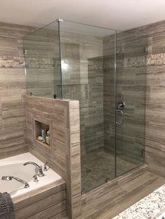 15 wonderful diy master bathroom ideas remodel on a budget 12 ~ Home And Garden Master Bathroom Shower, Bathroom Renos, Bathroom Interior, Modern Bathroom, Small Bathroom, Bathroom Showers, Bathroom Ideas, Bathroom Styling, Bathroom Remodeling