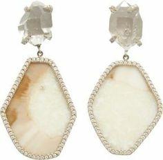 Monique Pean Atelier Pave Diamond & Fossilized Walrus Ivory Hexagonal Drop Earrings on shopstyle.com