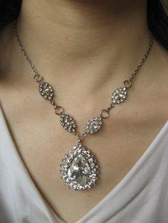 Wedding teardrop bridal SWAROVSKI rhinestone crystals jewelry necklace via Etsy