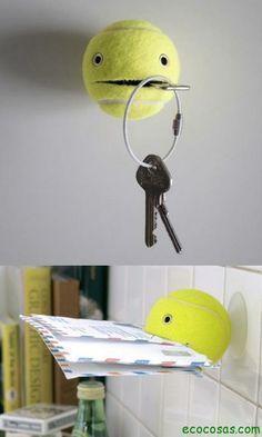 Una buena recopilación de ideas para reutilizar pelotas de tenis, estas pelotitas se cambian a