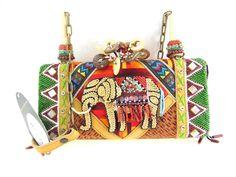 MARY FRANCES Elephant Design Beaded Single Strap Snap Closure Handbag S  #MARYFRANCES #ShoulderBag Mary Frances Handbags, Elephant Design, Clutches, Bling, Shoulder Bag, Closure, Purses, Art, Handbags
