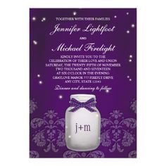 paper with fireflies | Purple Mason Jar with Fireflies Wedding Personalized Announcements