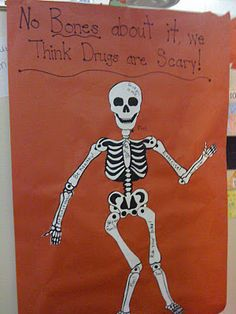 red ribbon week- could put the words and then decorate with a picture of each kids' face and a skeleton body?
