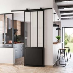 Porte coulissante : 32 idées originales et astucieuses - Expolore the best and the special ideas about Modern industrial Küchen Design, House Design, Interior Design, Sliding Doors, Industrial Style, Home Kitchens, Sweet Home, New Homes, The Originals