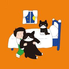 絵とおはなし「大きなテンちゃん」 テンちゃんはとっても大きなネコだから だっこするのが大変! ほんとうは自分でサッとベッドの上ぐらいは上がれるのに ぼくがだっこして上げてくれるのを待っているんだ。 でも、そんなきみのことも大好きだよ! ほら、シーちゃんが先にベッドで待っているよ。 Snoopy, Fictional Characters, Fantasy Characters