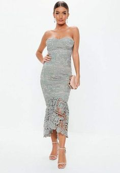 8930ee91f499 Boutique Khloe All Over Lace Bandeau Maxi Dress at boohoo.com | Fall/winter  | Dresses, Lace bandeau, Strapless dress formal