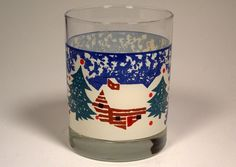Tienshan Folk Craft Cabin in the Snow Old Fashioned Glass Glasses Blue Christmas #TienshanFolkCraft