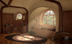 Originally drawn separately this is meant to depict a different hobbit hole than Bag End, however it is intended to be just as cozy. Hufflepuff Common Room, Natural Building, Cozy House, Little Houses, Hobbit Houses, Earth Bag Homes, Storybook Homes, Tolkien, Underground Homes