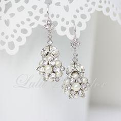 Pearl Bridal Earrings Dangle Wedding Earrings, Swarovski Crystal Pearl Vintage Wedding Jewelry, ALICE VINTAGE. $55.00, via Etsy.