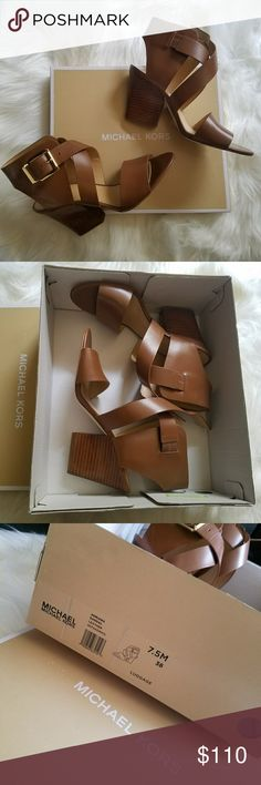 NIB - MICHAEL KORS Adriana Leather Sandal Get ready for spring in this gorgeous brown leather sandal by Michael Kors! Gold buckle on the side. 3 1/2 inch heel.  Brand new, never worn. Comes in box. Michael Kors Shoes Sandals