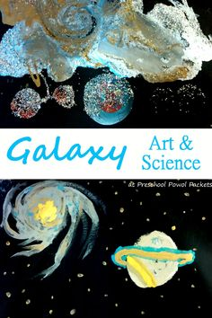 Fun! Galaxy art project with science lessons! Perfect for preschool, kindergarten, elementary school, and older kids too! Great for space theme or astronomy unit!