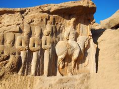 Incredible reliefs are carved into the rocks at Persepolis.