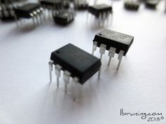 ATtiny45 microcontrollers for eTextile and paper computing projects.