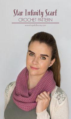 15 Fabulous FREE Star Stitch Crochet Patterns: Star Stitch Infinity Scarf Free Crochet Pattern by Hopeful Honey