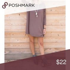 Mocha Loose Fit 3/4 Sleeve Tunic Dress S M L Perfect for Fall!! Mocha 3/4 sleeve loose fit tunic dress, can also be worn as a tunic top, heavy rayon spandex blend.  Available in size Small,  Medium, or Large.  ARRIVING FRIDAY/SHIPPING SATURDAY!  No Trades, Price Firm unless Bundled.  BUNDLE 3 OR MORE ITEMS FOR 15 % OFF. Boutique Dresses Mini