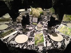 NHBA Gala 2012 - Black, White, lime green table decor