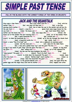 simple past tense jack and the beanstalk 2 icon Simple Past Tense, Simple Present Tense, English Primary School, English Classroom, Grammar Exercises, English Exercises, English Lessons, Learn English, Teaching English Grammar