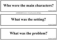 A set of questions for readers to use before, during, and after reading narrative texts. Print on green, yellow, and red card stock -- laminate and use in a pocket chart. Adjectives Grammar, Third Grade, Teaching Resources, Literacy, Texts, Card Stock, Chart, Writing, Pocket