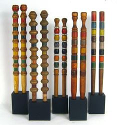 A collection of croquet wickets.