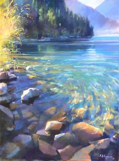 landscape paintings Lake Crescent with Doc by Bruce A Gmez Seascape Paintings, Nature Paintings, Landscape Paintings, Nature Oil Painting, Landscapes To Paint, Watercolor Trees, Watercolor Landscape, Lake Painting, Painting Trees